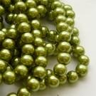 Kollakasroheline klaaspärl 8mm, 10 tk