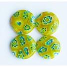 Millefiori lapikud helmed 14mm rohekas-kollased, 4 tk