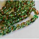 Ovaalne klaashelmes 9x6mm roheline-pruun, 1 tk