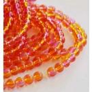 Ümar klaashelmes 6mm oranž-kollane-roosa, 10 tk