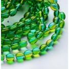 Ovaalne klaashelmes 9x6mm, roheline-kollane, 1 tk
