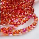 Ümar klaashelmes 6mm lillakas-roosa/oranž, 10 tk