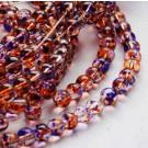 Ümar klaashelmes 6mm lilla-oranž, 10 tk