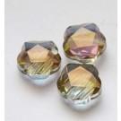 Lihvitud klaashelmes 14x14x8mm hall lilla-kuldse läikega, 1 tk