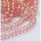 Lihvitud kristallrondell 6x4mm virsik-roosa, 1 tk