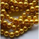Klaaspärl 10mm kuldne, 10 tk