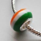 Metallsüdamikuga akrüülhelmes 13x9mm, ava 4,5mm, valge-roheline-oranž, 1 tk