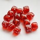 Kandiline akrüülhelmes Täring 8mm punane, diagonaalne ava, 2 tk