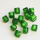Käsitööhelmes kuubik 6X6mm roheline, 1 tk