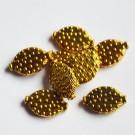 Ant.kuldne ovaalne lapik metallhelmes 15x10mm, 1 tk