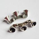 Ant.hõbedane ühendaja 29x10mm, 2 ava, 5mm kristallidele, 1 tk