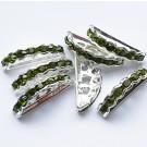 Kivikestega  vahehelmes  oliiv-roheline, hõbedane, 19x8mm, 1 tk