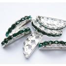 Kivikestega  vahehelmes emerald-roheline, hõbedane, 19x8mm, 1 tk
