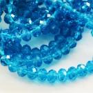 Lihvitud klaaskristall rondell 6x4mm sinine, 10 tk