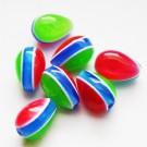Kunstvaigust tilgakujuline helmes 10-15mm kumav sinise-rohelise-punasetriibuline, 1 tk