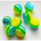 Kunstvaigust ümar helmes 13-14mm kumav sinise-rohelise-kollasetriibuline, 1 tk