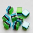 Kunstvaigust kuubik 9x9mm kumav sinise-rohelise-mustatriibuline, 1 tk