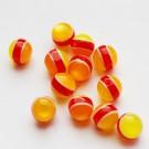 Kunstvaigust ümar helmes 8mm kumav oranži-punase-kollasetriibuline, 1 tk