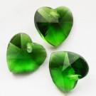Lihvitud klaasripats Süda 14x14mm roheline, 2 tk