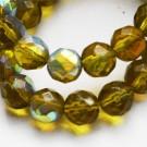 Lihvitud  klaashelmes 10mm kollakasroheline metallik läige, 1 tk