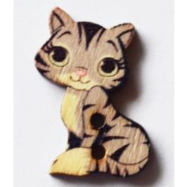 Бусина-пуговица деревянная 27х20мм Кошка, 1 шт.