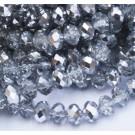 Граненый рондель 8х6мм прозрачный-серебряный  - 1 шт.