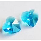 Подвеска стеклянная Сердце 10x10мм граненая синий, 2 шт.