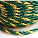 Декоративный шнур 4мм зелёный-золотой, 1 м