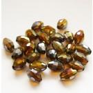 Lihvitud ovaalne klaashelmes 9x6mm, pruun, AB, 1 tk.
