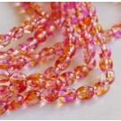 Стеклянная бусина овальная 9x6мм  розовая-оранжевая, 1 шт.