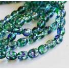 Стеклянная бусина овальная 9x6мм  зелёная-синяя, 1 шт.
