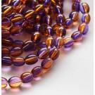 Стеклянная бусина овальная 9x6мм фиолетовая-oранжевая, 1 шт.