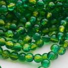 Бусина стеклянная кракле 6мм зеленая, 10 шт.