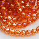 Lihvitud ümar klaashelmes 8mm oranžikaspunane, AB läige, 1 tk
