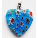 Millefioririipus sydän 20mm sininen, 1 kpl