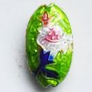 Cloisonne helmi ovaali vihreä 19x10mm, 1 kpl