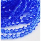 Glass bicone beads 4x4mm faceted blue, 10 pcs