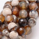 Agate beads 8mm natural, faceted, round, dyed,  1 pcs