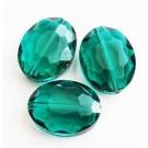Lihvitud ovaalne klaashelmes 16x20mm emerald roheline, 1 tk
