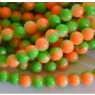 Ümar klaashelmes 8mm oranž-roheline, 10 tk