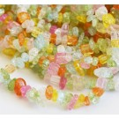 Crackle Quartz chips 5-8mm synthetic, dyed, mixed color,  82cm, 1 pcs