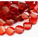 Glass beads 18mm faceted, flat round, twist, red color, 1 pcs