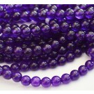 Agate loose beads 6mm natural,round, dyed, dark purple,  1 pcs
