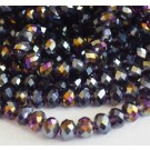 Glass beads 8x6mm abacus, faceted, AB-color plated, indigo, 1 pcs