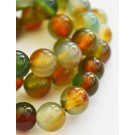 Agate beads 8mm natural, round, dyed, colorful,  24 pcs