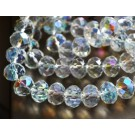 Glass beads 12x8mm abacus, faceted, clear, AB-color, 1 pcs