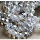 Glass beads 6mm faceted, round, clear, AB-color, 10 pcs