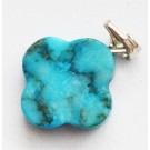 Turquoise pendant 18x14x3-4mm natural, dyed, frosted, 1 pcs