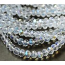 Glass beads 10x7mm abacus, faceted, clear, AB-color, 1 pcs