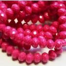 Glass bead 8x6mm abacus, fuchsia, 1 pcs